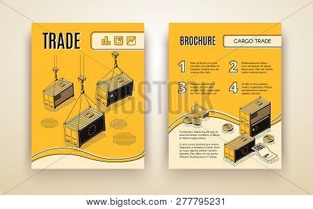 International Trading Company, Cross Border Delivery Service Isometric Vector Promo Brochure Or Annu