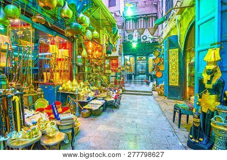 Cairo, Egypt - December 20, 2017: The Shops Of Khan El-khalili Market With Variety Of Egyptian Souve