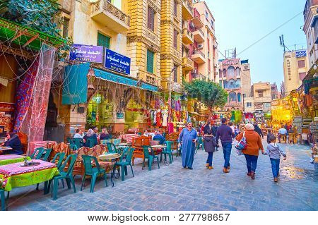 Cairo, Egypt - December 20, 2017: Old Cafes With Egyptian Cuisine In Khan El-khalili Market Are The