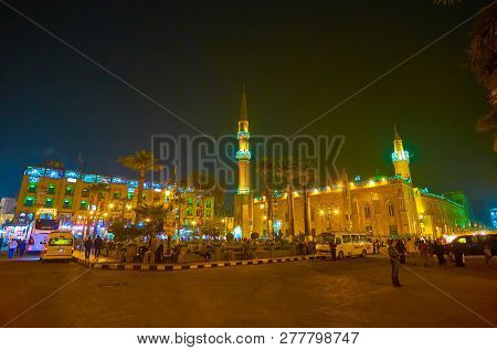 Cairo, Egypt - December 20, 2017: Midan Hussein Square With Illuminated Al-hussein Mosque And Neighb