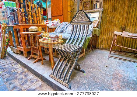 The Beautiful Handmade Wooden Furniture With Nacre And Ivory Inlaids Are On Sale In Khan El-khalili