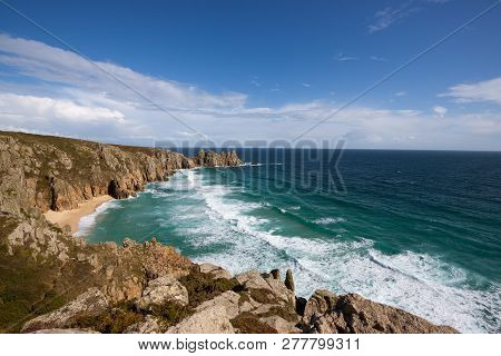 Porthcurno Beach In Cornwall England In Summer