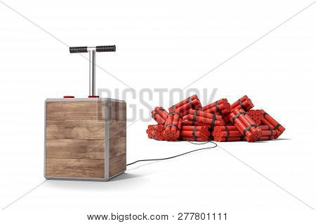 3d Rendering Of Tnt Dynamite Sticks With Detonator Box Isolated On White Background.