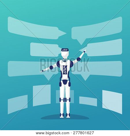 Chat Bot Artificial Intelligence. Automated Response From Chatbot. Vector Illustration Flat Design.