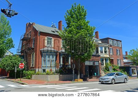 Portland, Me, Usa - Jun 20, 2015: Historic Building On Congress Street In Old Port District Of Portl