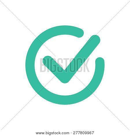 Check Mark Icon Symbol Vector. Tick And Cross Signs. Green Checkmark Icon, Isolated On White Backgro