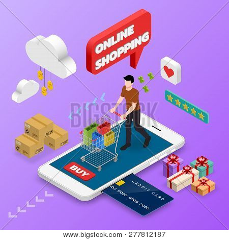 Isometric Man Shopping On Smart Phone. E-commerce Online Concept Female Person With Shopping Cart, T