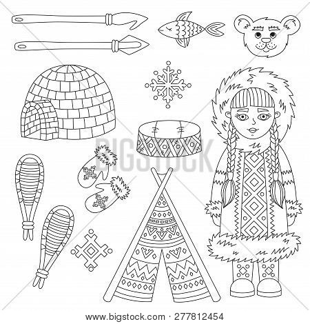 Eskimo Arctic Symbols And Character  Outline Vector Set