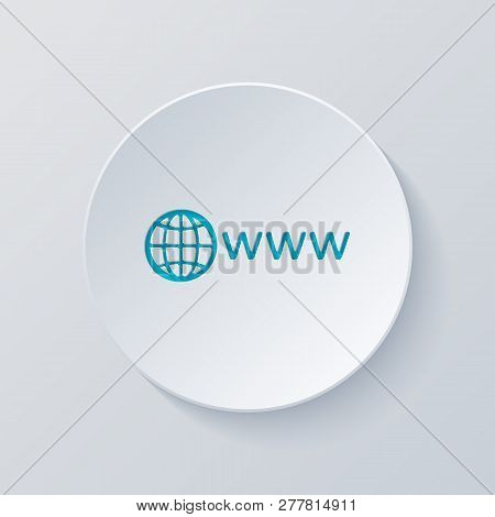 Symbol Of Internet With Globe And Www. Cut Circle With Gray And Blue Layers. Paper Style
