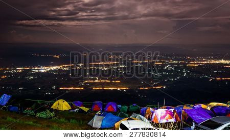 High Angle Night View See The Street Light From The Campsite At Phu Tub Berk Viewpoint Famous Touris