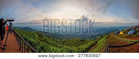 Phetchabun, Thailand-oct 24, 2018: Panorama Tourists And Tents On Camping Areas At Phu Thap Berk Vie
