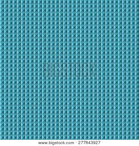 Blue Abstract Three Dimensional Background With Many Little Square Shapes. Turquoise Colored Metalli