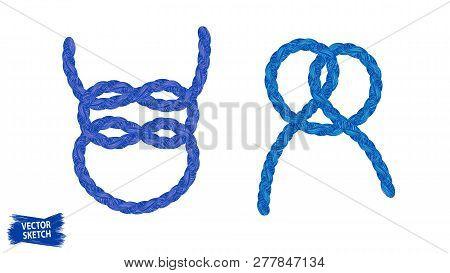 Knots Sketches. Nautical Rope. Braid. Rope Knots. Braided Trim. Marine. Sail. Ship. Boat. Sailor. Se