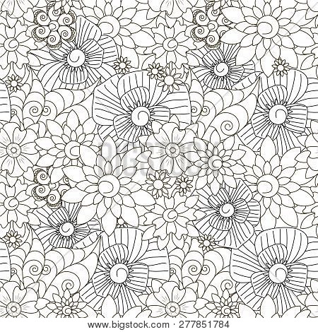 Seamless Floral Monochrome Pattern Stock Vector Illustration For Web, For Print, Fabric Print