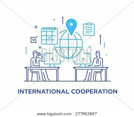 Businessmen Negotiate Online. International Deal. Virtual Communication Smartphone. Cooperation Inte