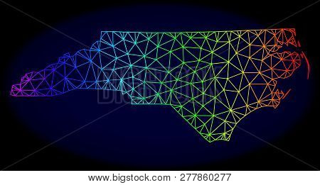 Rainbow Colored Mesh Vector Map Of North Carolina State Isolated On A Dark Blue Background. Abstract
