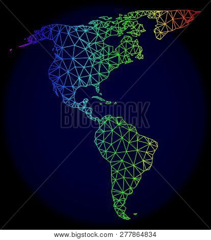 Rainbow Colored Mesh Vector Map Of South And North America Isolated On A Dark Blue Background. Abstr