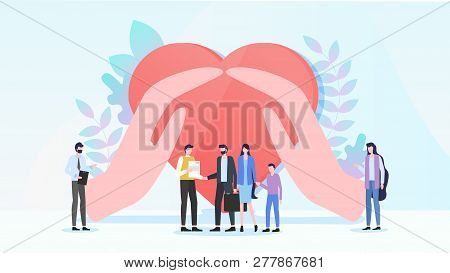 Family Health Insurance Flat Vector Concept. Parents With Child Taking Policy From Agent Or Insuranc