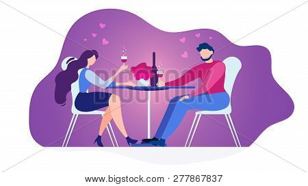 Romantic Date In Restaurant Flat Vector Concept Isolated On White Background. Couple In Love Sitting