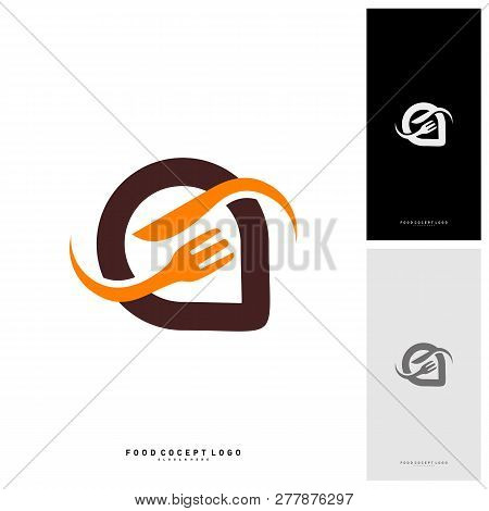 Food Talk Logo Concept Designs Vector, Food Discuss Logo, Food Forum Logo Template - Vector