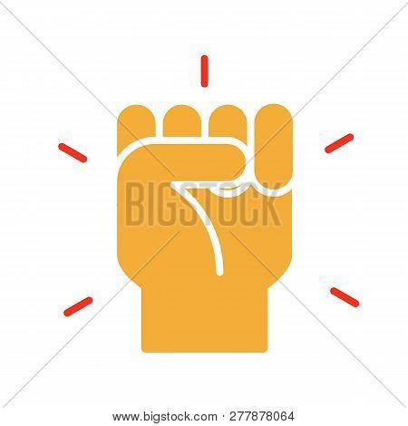 Hand Closed. Fist Icon. Vector Trendy Flat Glyph Icon Illustration Design For Protests, Strength, Su