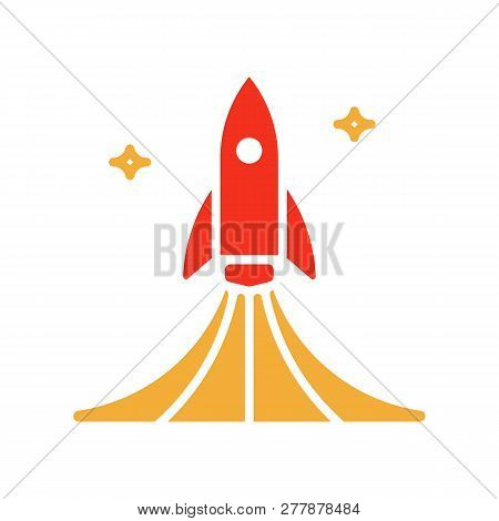Rocket Launch Icon. Vector Design Spaceship Lifting Off With Smoke Illustration. Good For Concepts L