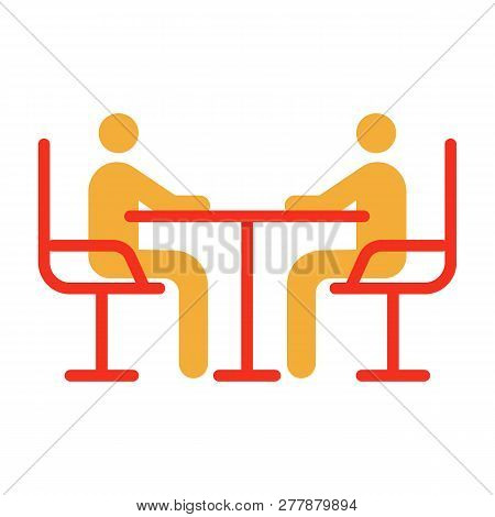 Vector Flat Glyph Icon Illustration Of 2 Businessman Having A Business Conference, Meeting, Chat. 2