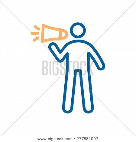 Vector Trendy Thin Line Icon With A Man And A Loudspeaker. Illustration Of A Person With A Megaphone