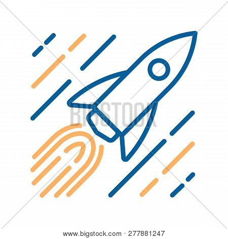 Trendy Thin Line Icon Of A Rocket In Space Flying At Speed Of Light With Stars Motion Trail. Vector