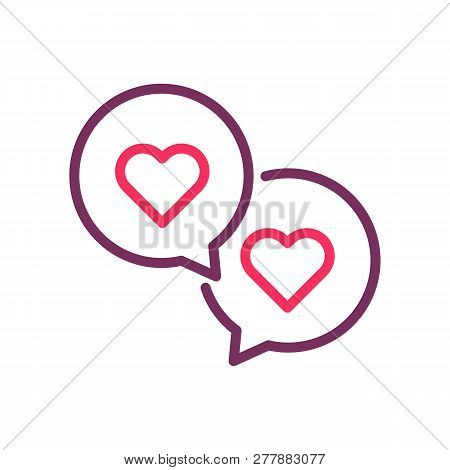 Two Speech Bubbles With Hearts. Vector Trendy Line Icon For Romance, Love, Valentine's Day, Online D
