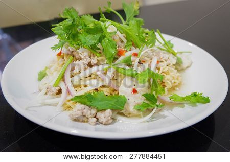Instant Noodle Spicy Salad Thai Style Food Of Instant Noodle Salad With Herb Pork And Vegetable Cele