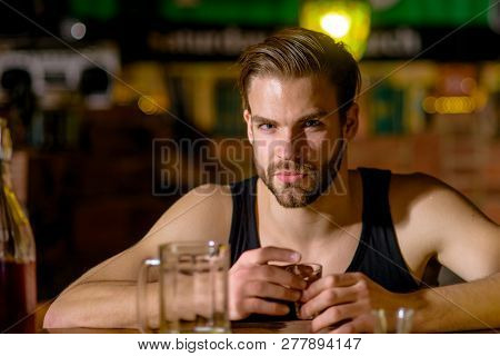 Grabbing A Drink After Work. Man Drink Strong Alcoholic Beverage And Beer In Pub. Alcoholic Man Drin