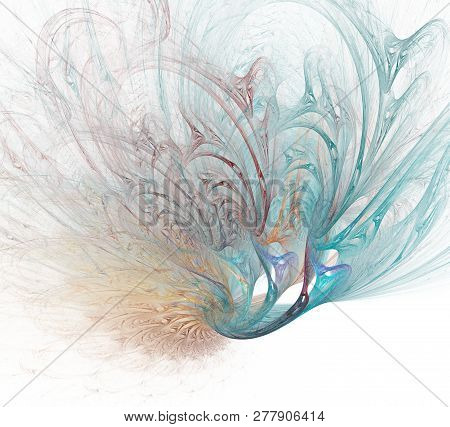 Computer-generated Fractal Illustrating Peacock Feather Isolated On White Background