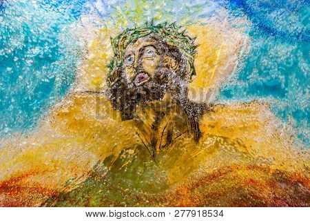 Blown multi color Glass of Jesus Christ. Ideal for concepts and backgrounds. poster