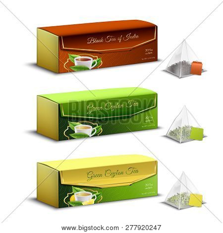 Green Black Indian And Ceylon Tea Pyramid Bags Packaging Boxes Realistic Set Advertising Sale Isolat