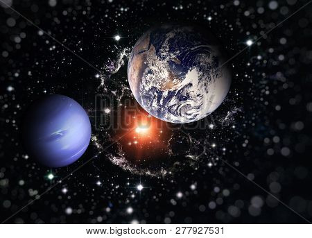Planet Earth And The Blue Planet Among Deep Dark Space With Stars And Nebulae. Elements Of This Imag