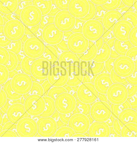 American Dollar Gold Coins Seamless Pattern. Fair Scattered Yellow Usd Coins. Success Concept. Usa M