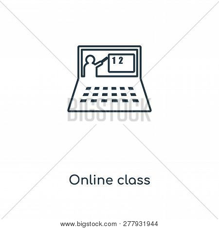 Online Class Icon In Trendy Design Style. Online Class Icon Isolated On White Background. Online Cla