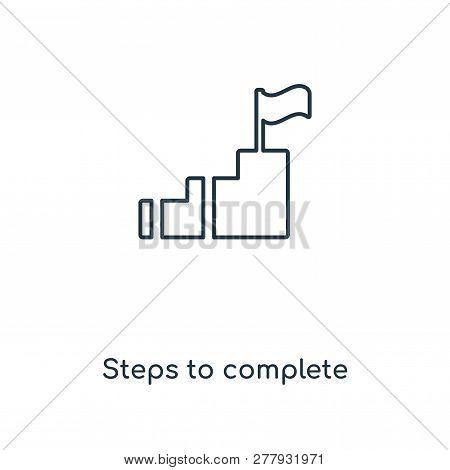 Steps To Complete Icon In Trendy Design Style. Steps To Complete Icon Isolated On White Background.