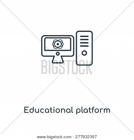 Educational Platform Icon In Trendy Design Style. Educational Platform Icon Isolated On White Backgr