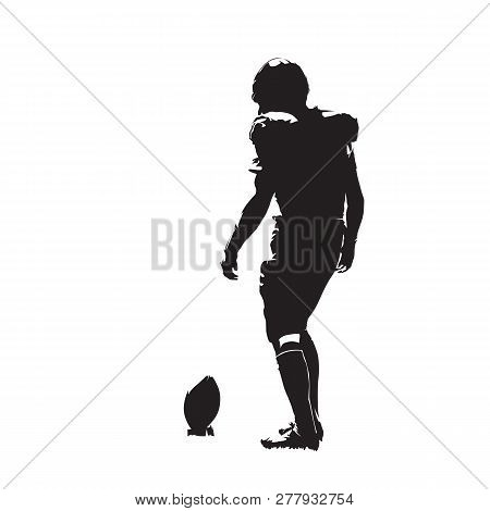 American Football Player Preparing For Kick, Isolated Vector Silhouette. Team Sport