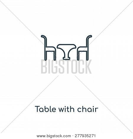 Table With Chair Icon In Trendy Design Style. Table With Chair Icon Isolated On White Background. Ta