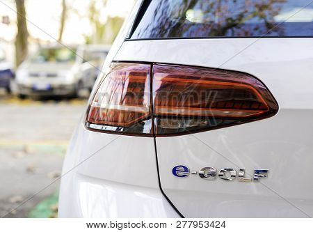 Verona, Italy, December  09, 2018 : Volkswagen E-golf On The Streets Of The City, Close View Of Logo