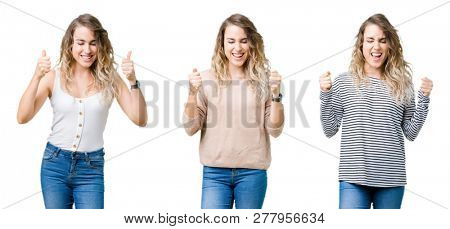 Collage of young beautiful blonde girl over isolated background excited for success with arms raised celebrating victory smiling. Winner concept.