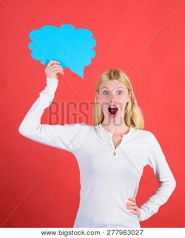 Girl With Speech Bubble. Thoughts Of Surprised Adorable Woman. Decision And Solution. Solve Problem.