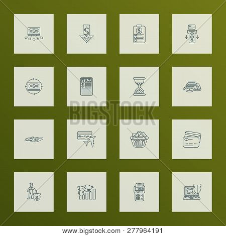 Finance Icons Line Style Set With Card To Card, Online Banking Security, Coins Stacked And Other Cas