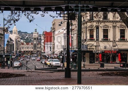 Dunedin, New Zealand - June 21, 2016: View Over Dunedin City Centre From The Octagon, Dunedin Railwa