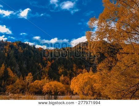 Picturesque Arrowtown During Autumn Day, New Zealand