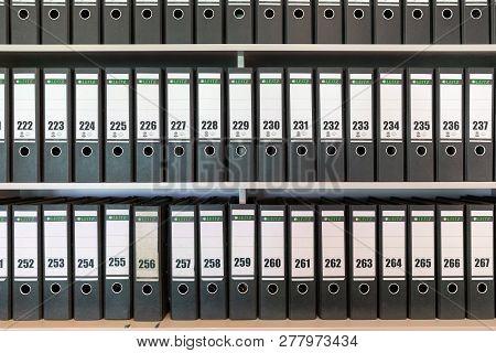 Veenhuizen, The Netherlands - June 23, 2018: Background Of Binders With Numbered Folders In Veenhuiz