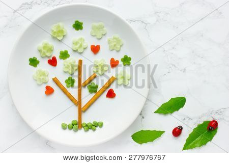 Fun Food, Vegetables Snack Plate Shaped Green Tree, Springtime And Love Theme Food Art